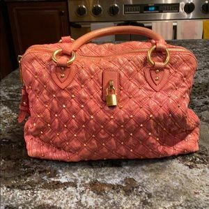 Marc Jacobs pink with gold hardware snakeskin bag